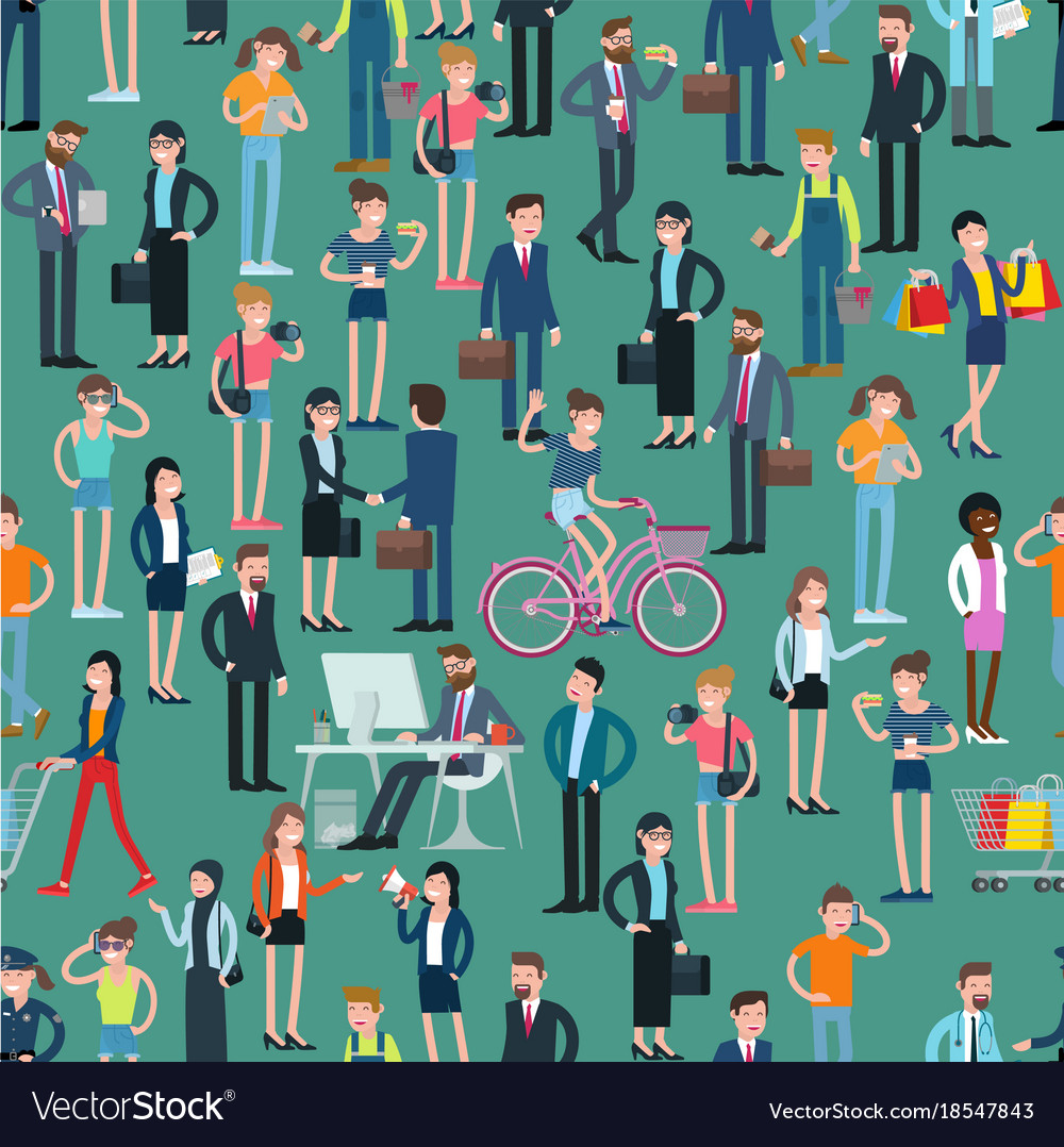 Flat design people seamless pattern