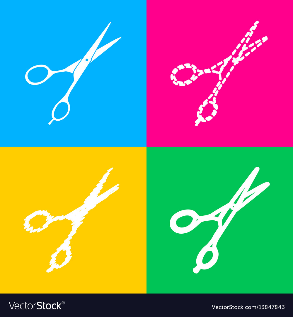 Hair cutting scissors sign four styles of icon on vector image