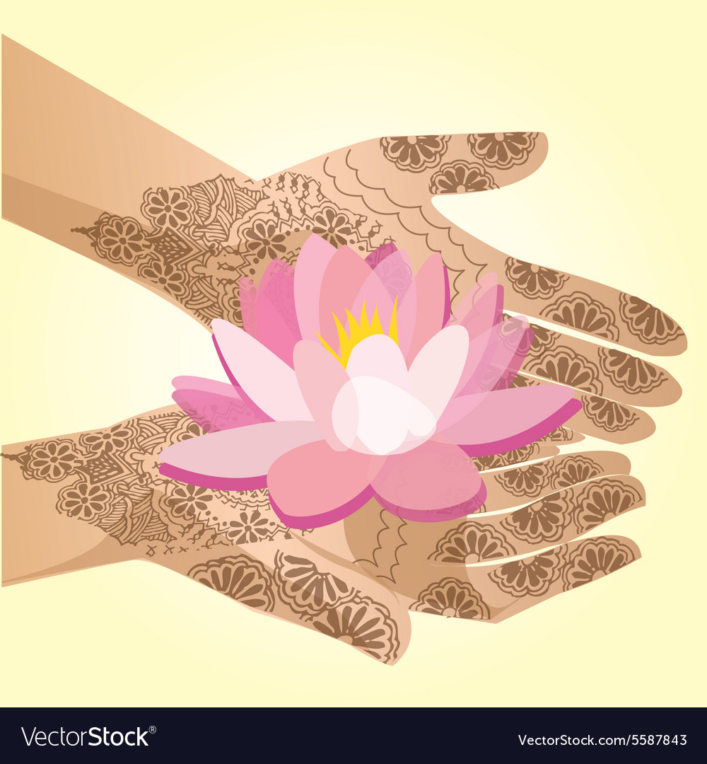 Hands decorated with henna indian woman holding a vector image