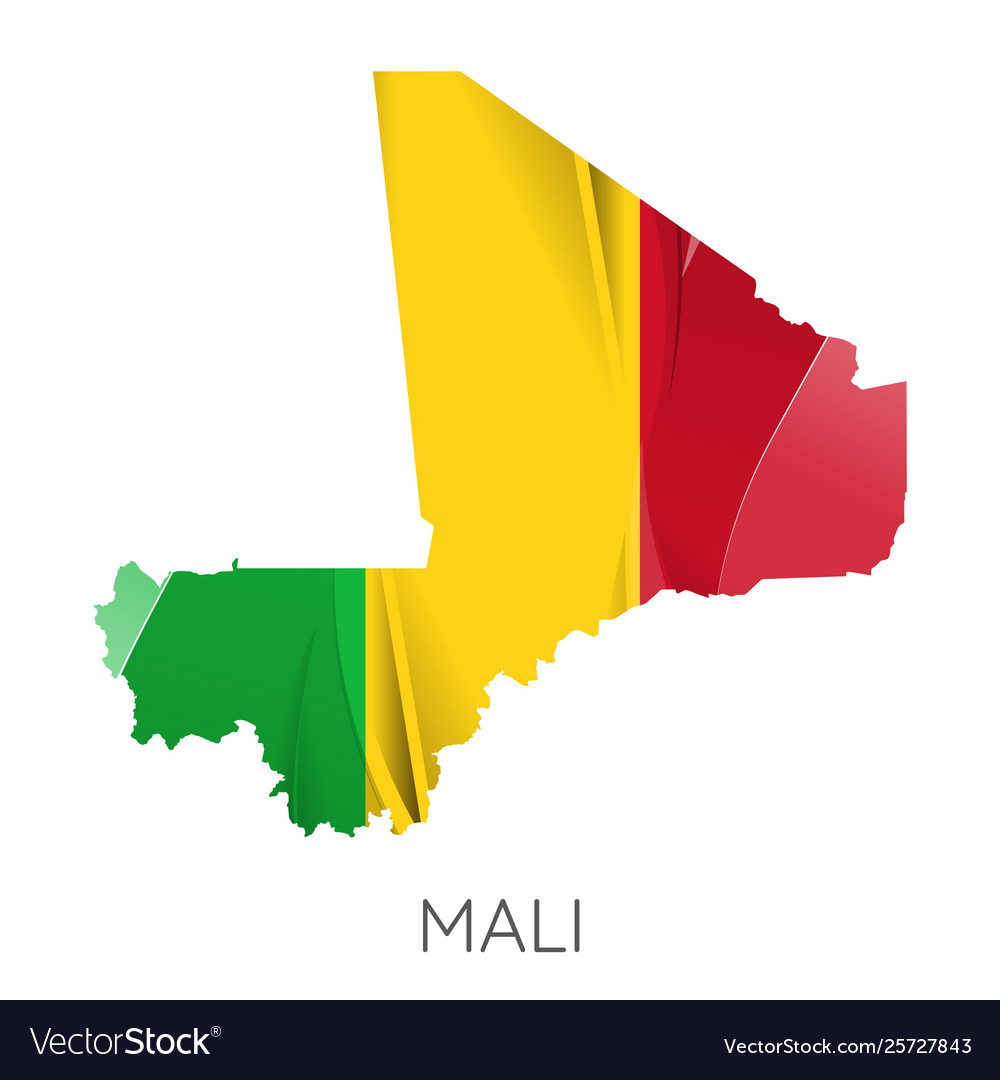Map mali with an official flag on white