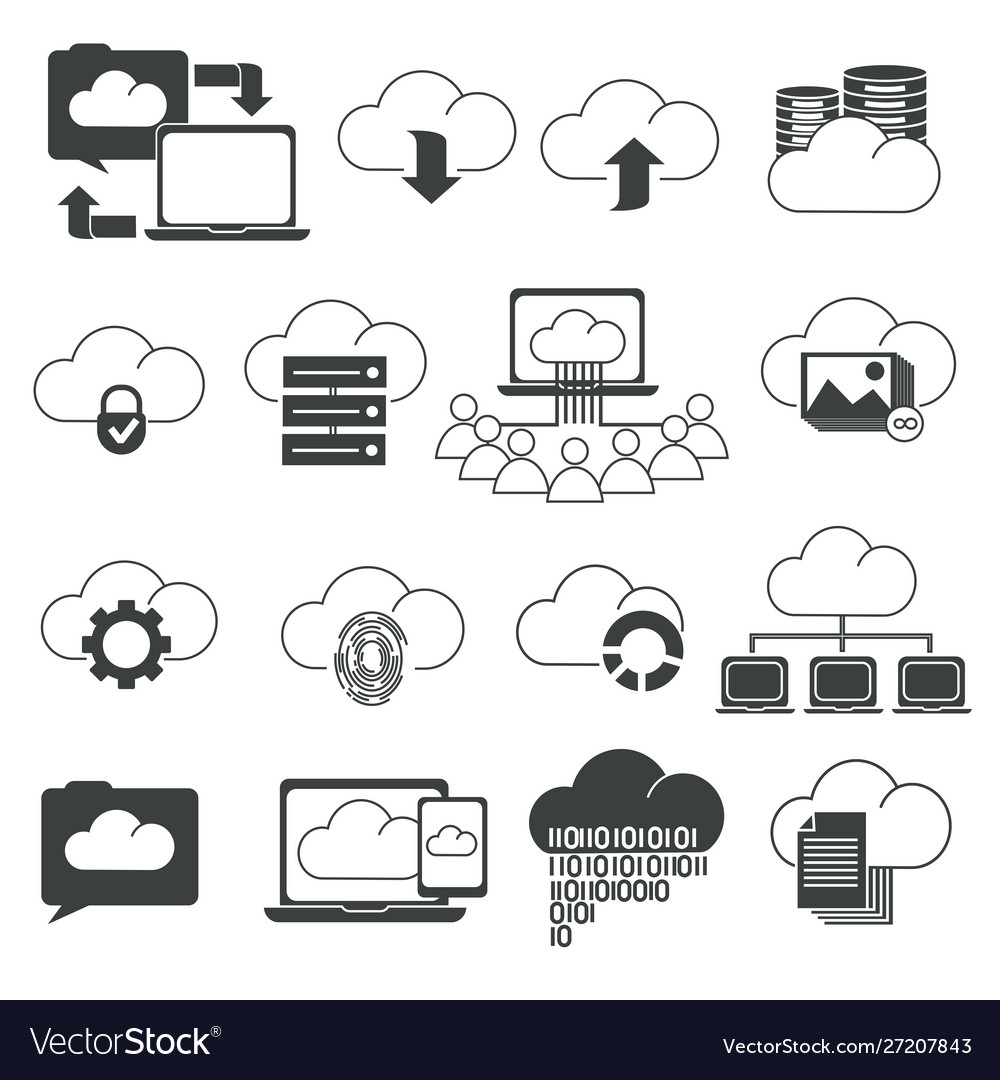 Online space storage cloud isolated outline icons
