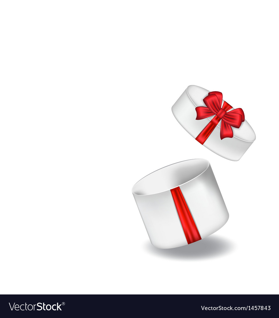 Open gift box with red bow isolated on white