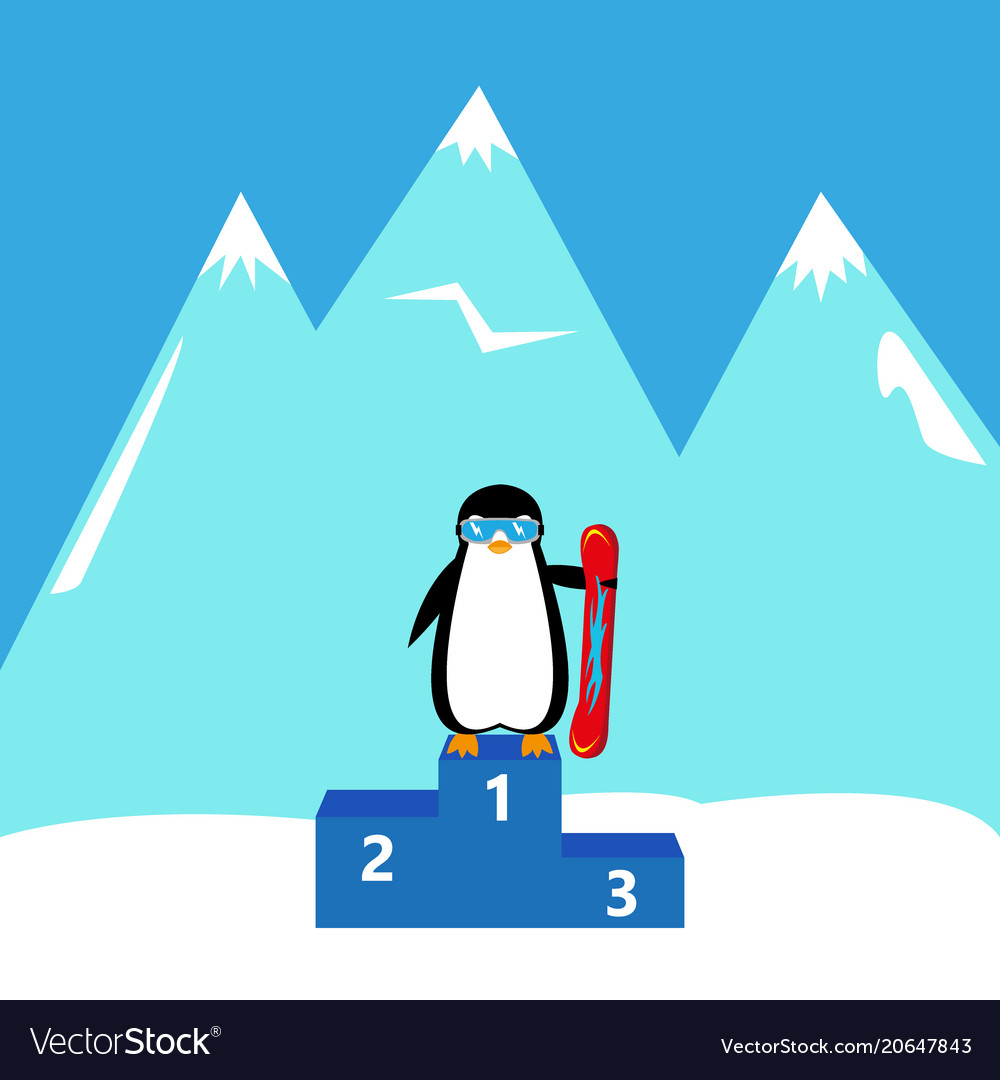 Penguin snowboarder winner champion vector image