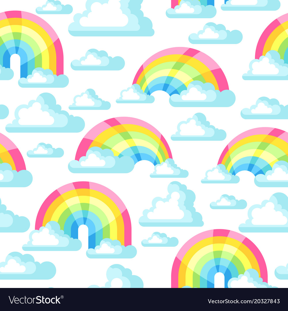 Seamless pattern with fantasy rainbow and clouds