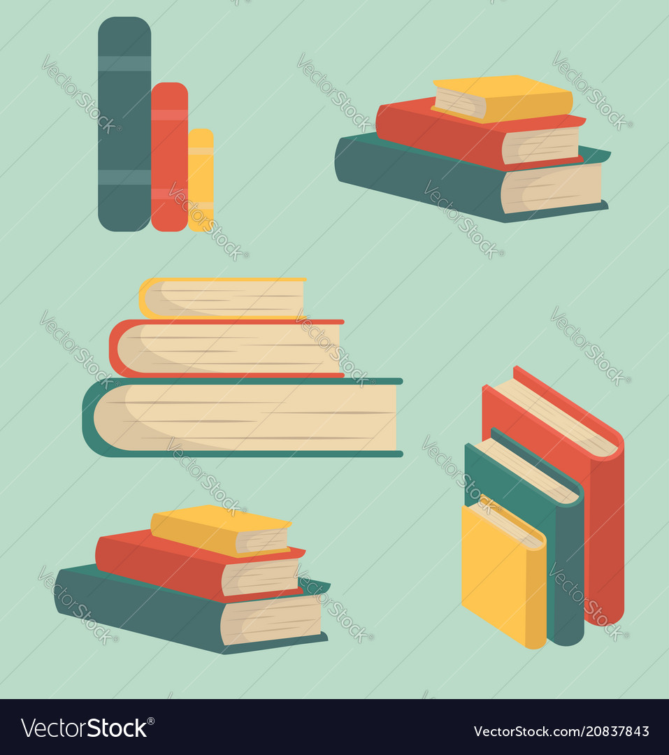 Set book of stacks in flat design