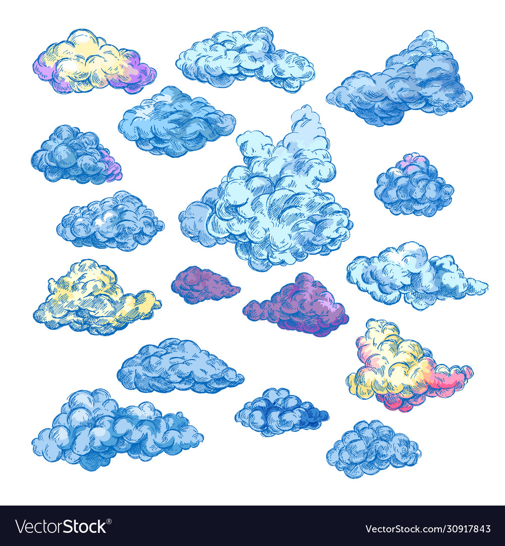 Sketch clouds fluffy and stormy blue clouds