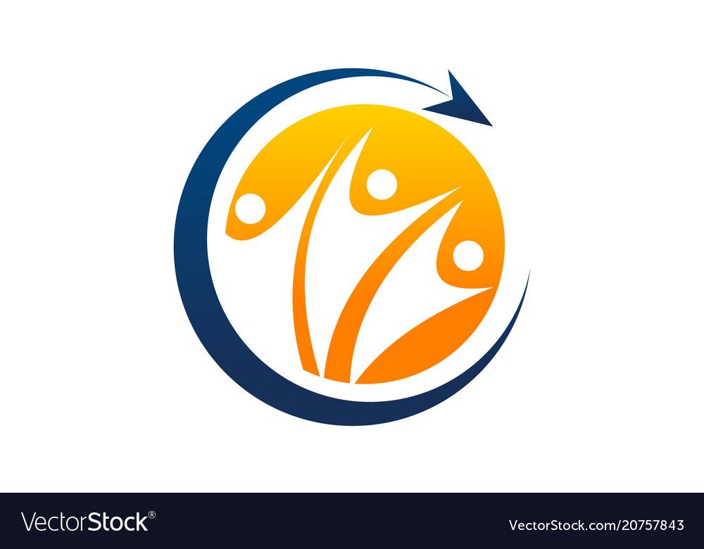 Success teamwork logo design template
