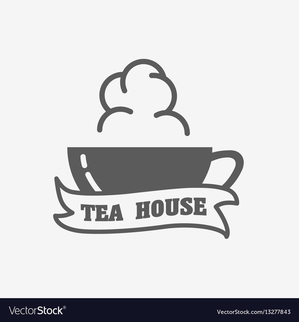 Tea house logo label or sign design concept