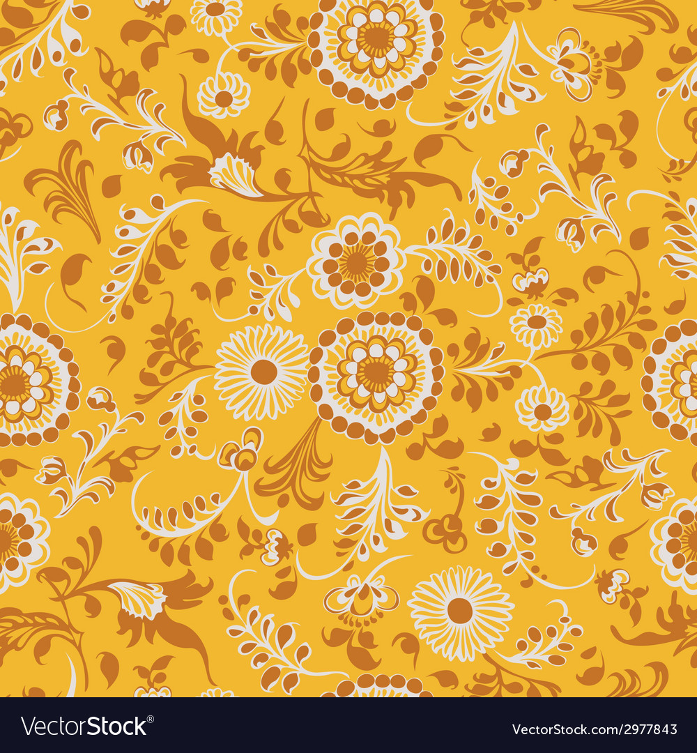 Vintage seamless floral pattern yellow