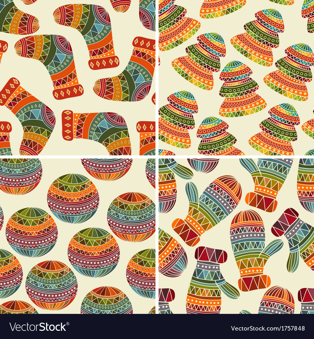 4 seamless winter Christams patterns