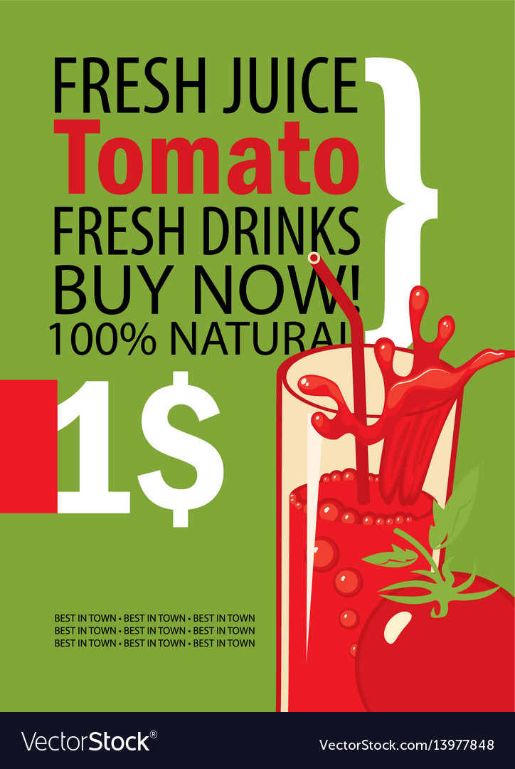 Banner with tomatoes and a glass juice