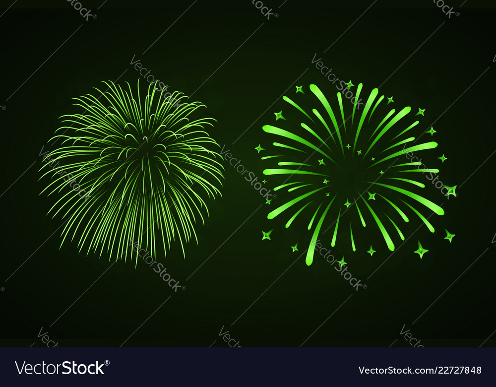 Beautiful bright fireworks set isolated on black