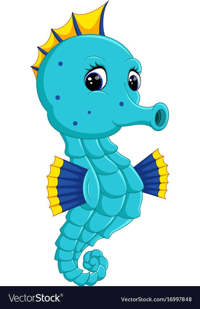 Cartoon watercolor seahorse