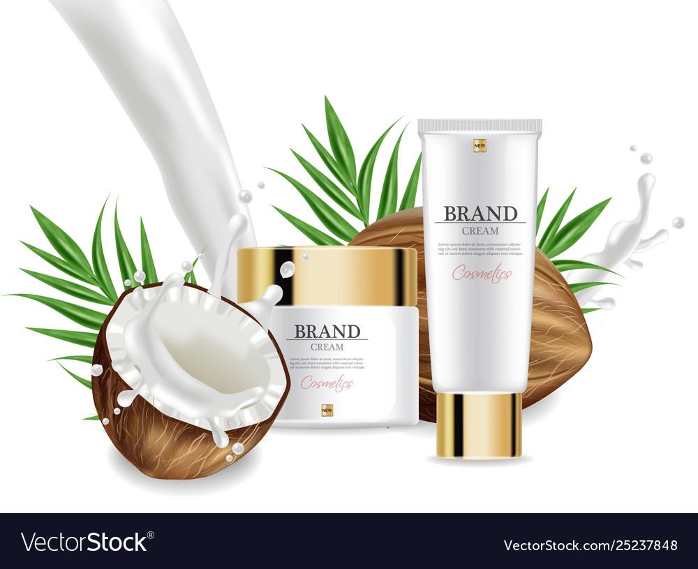Coconut creams set collection realistic