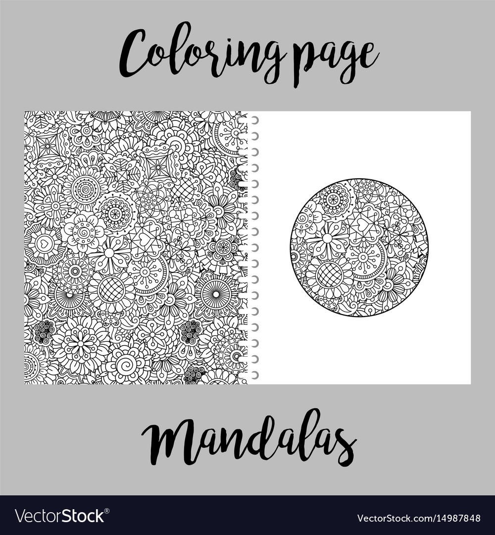 Coloring page design with mandalas