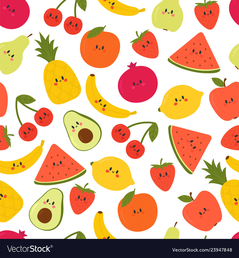 Cute seamless pattern with cartoon fruits kawaii