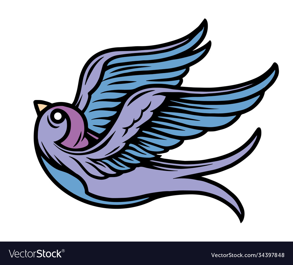 Flying swallow colorful tattoo concept