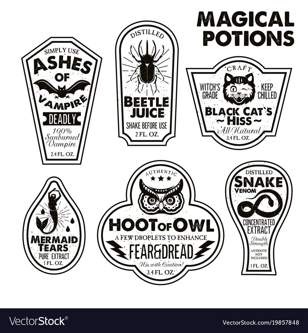 halloween bottle labels potion labels royalty free vector