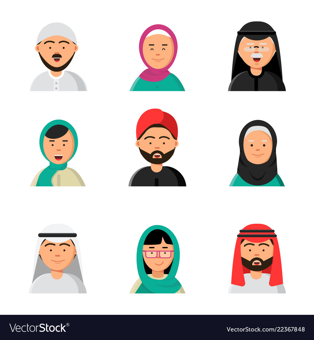 Islam people icon web arabic avatars muslim heads