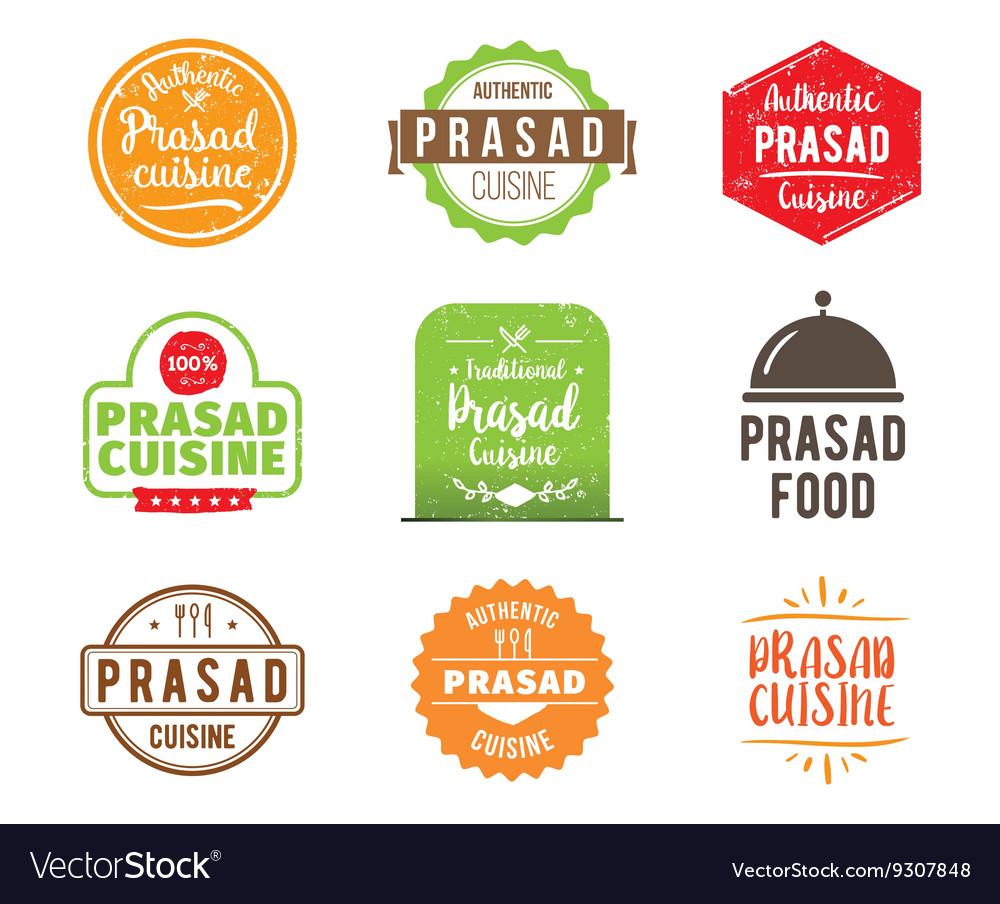 Prasad cuisine label vector image