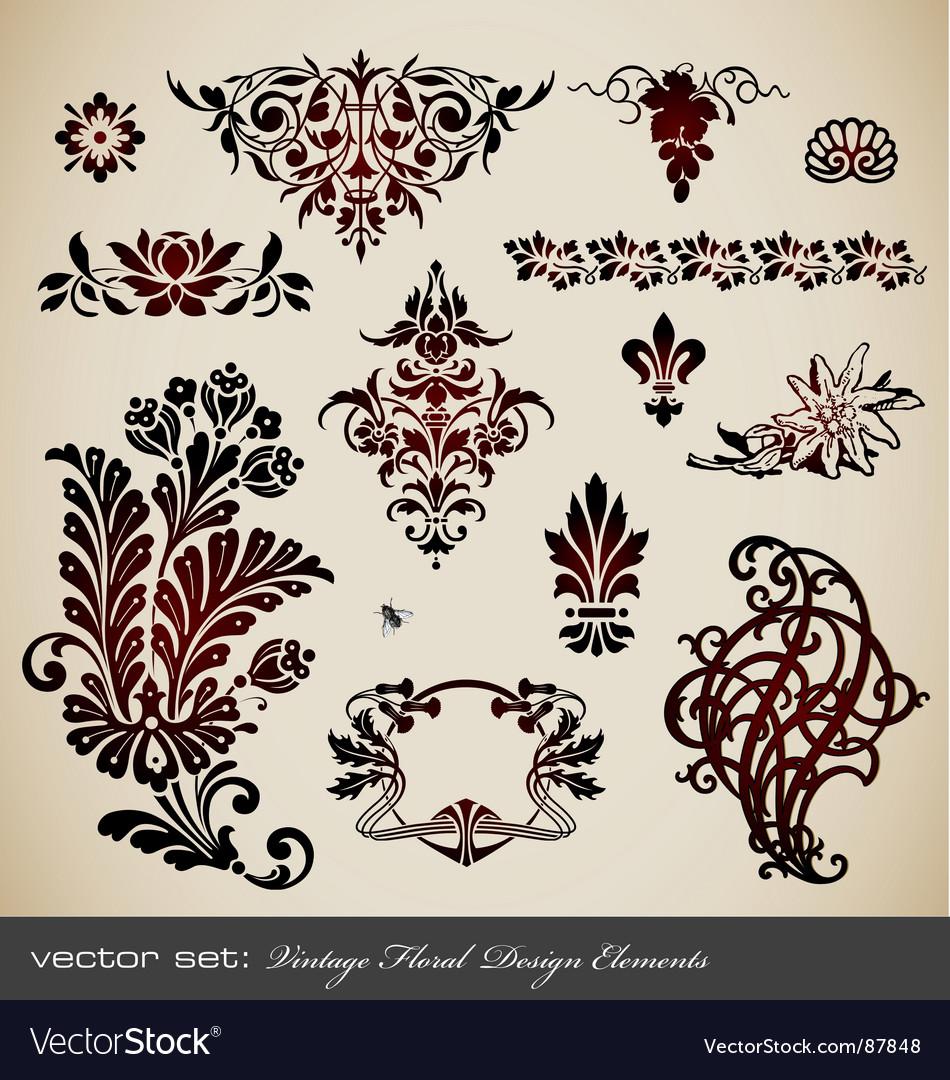 Set vintage floral elements