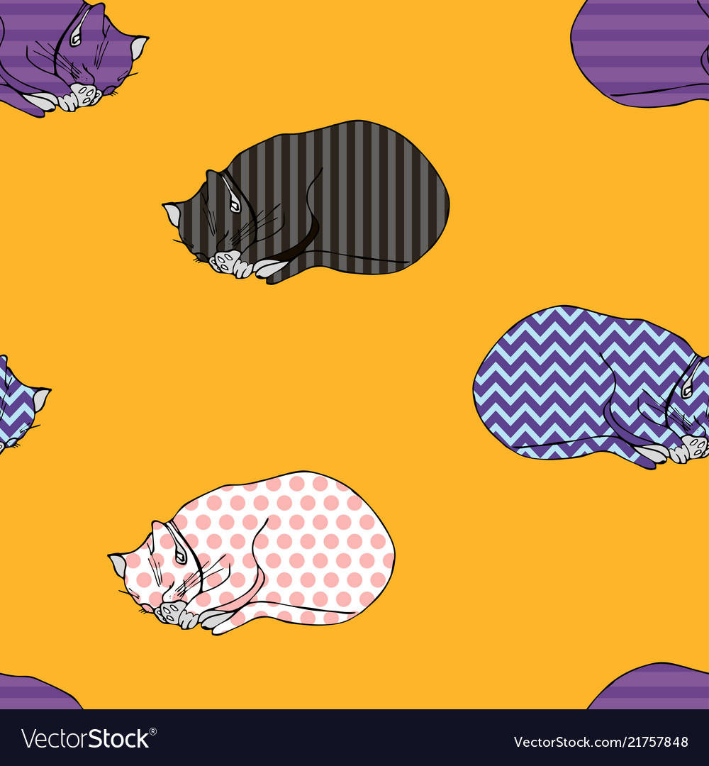 Sweet kitten seamless yellow pattern