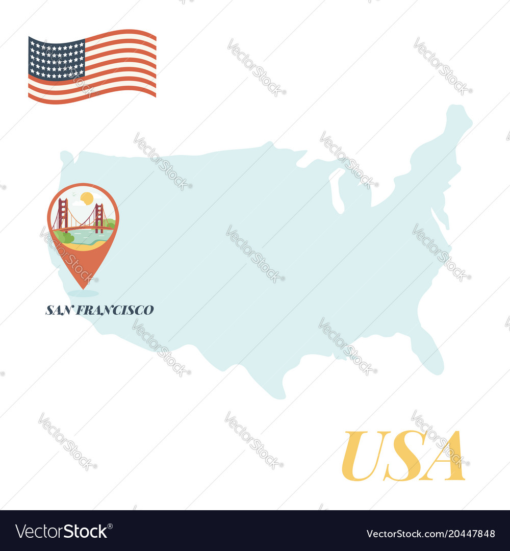 Usa map with san francisco pin travel concept