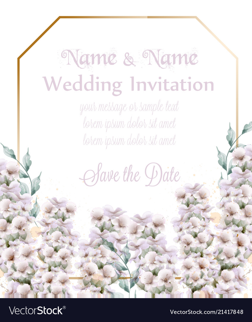 White lavender wedding card bouquet watercolor Vector Image