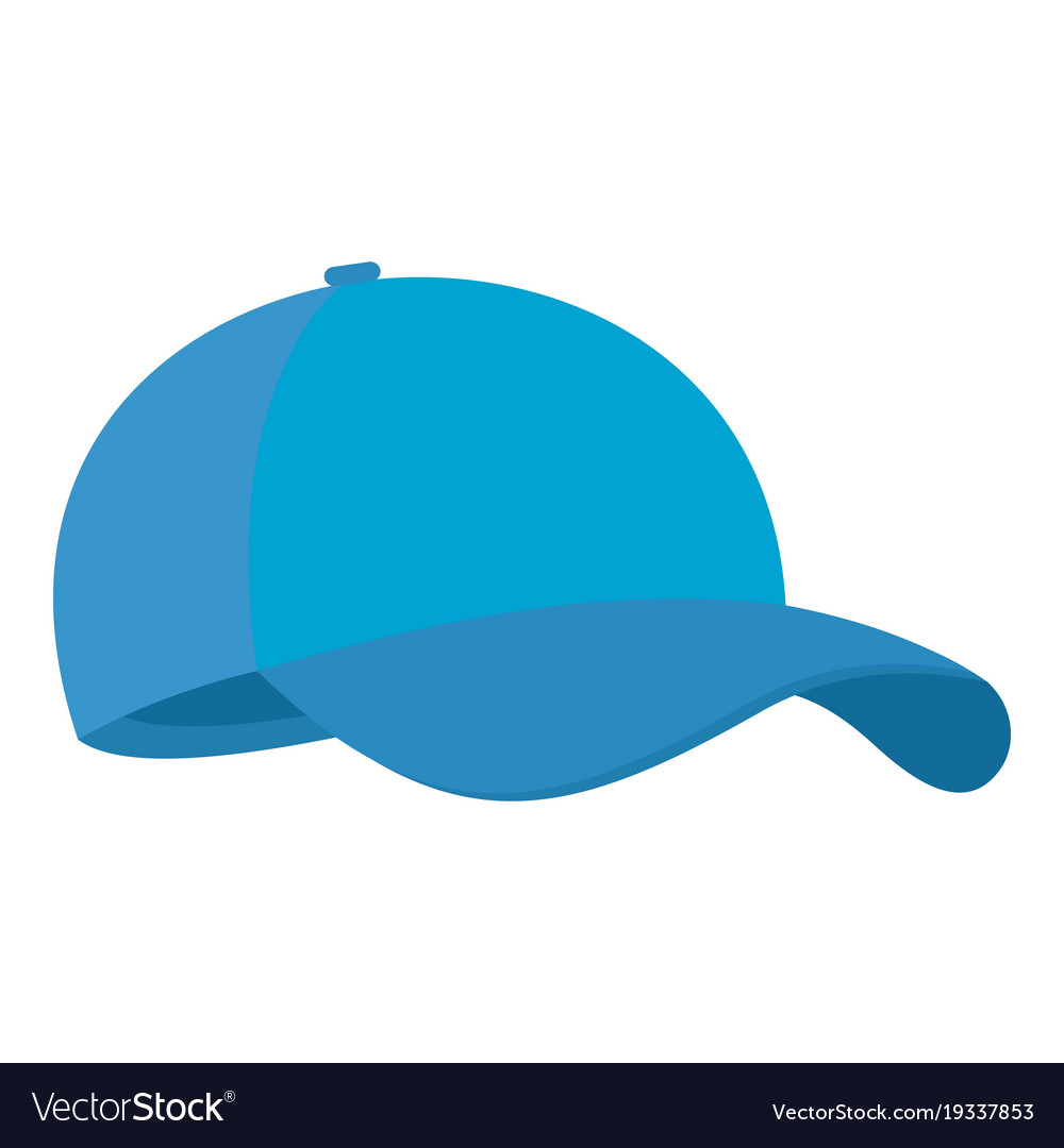 blue baseball cap icon flat style royalty free vector image rh vectorstock com baseball cap vector free baseball cap vector side