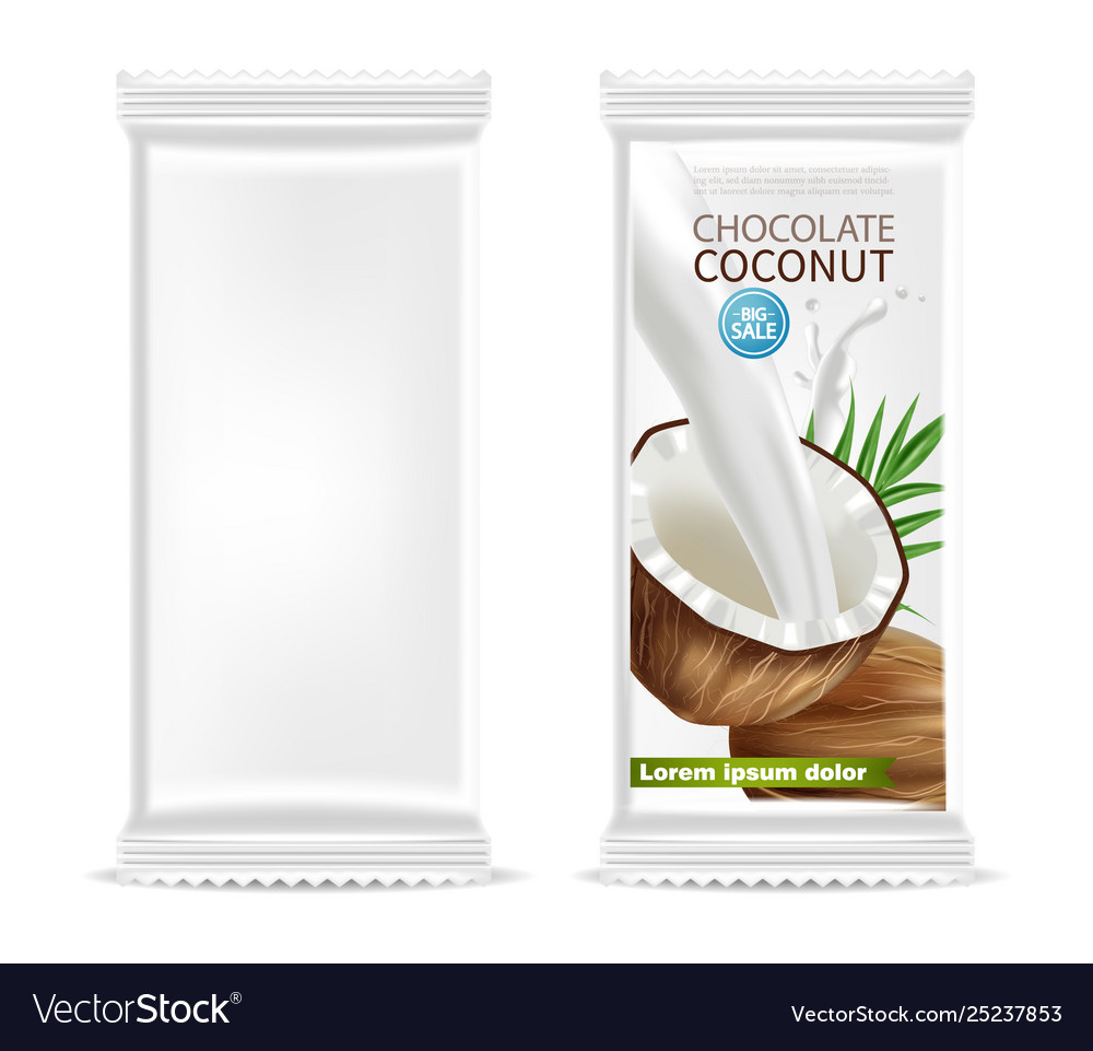 Coconut chocolate isolated template