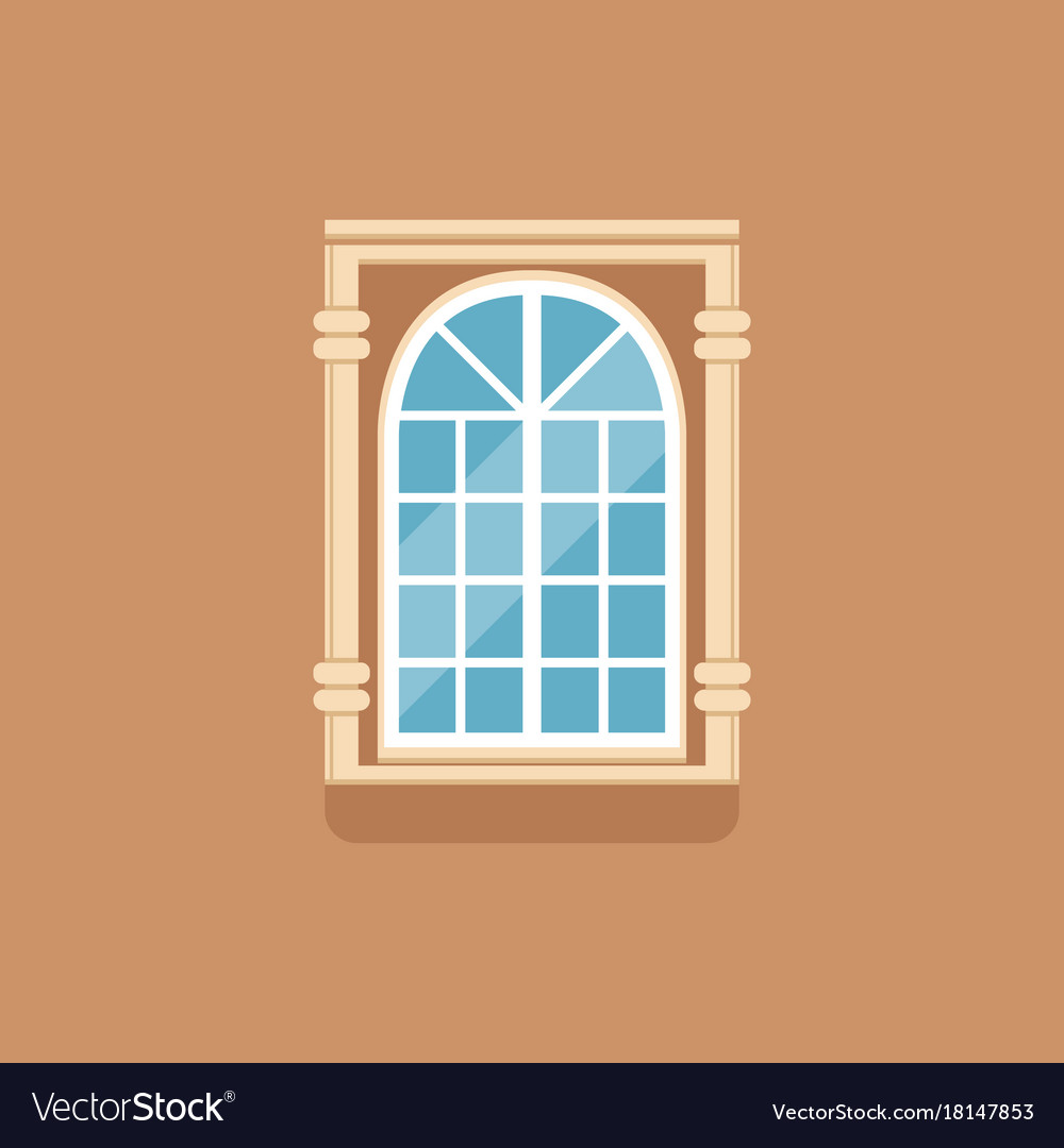 Flat classical arched window with decorated facade
