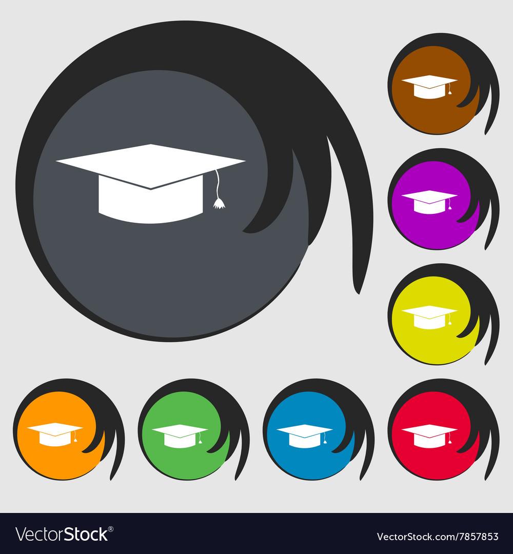 Graduation Cap Icon Symbols On Eight Colored Vector Image