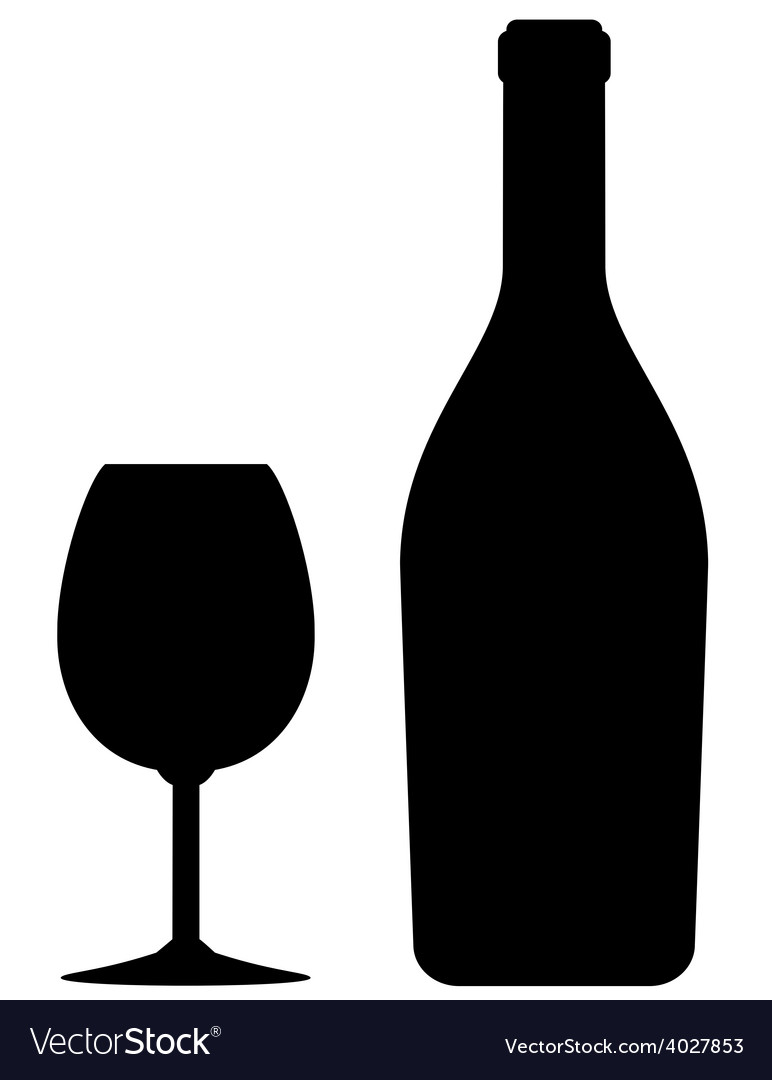 Isolated wine bottle and glass