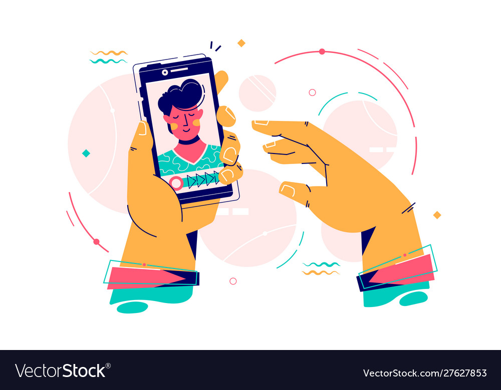 Man hold smartphone using video calling with