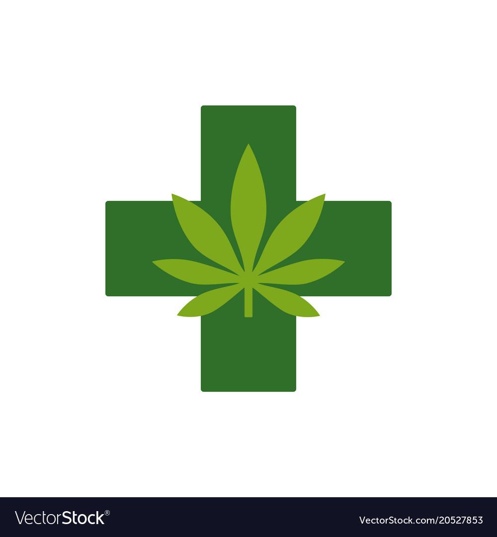 Marijuana Leaf With Green Cross Medical Cannabis Vector Image