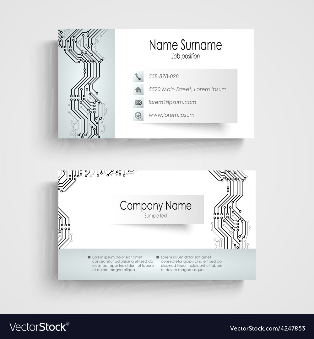 Modern business card with printed circuit board vector image colourmoves