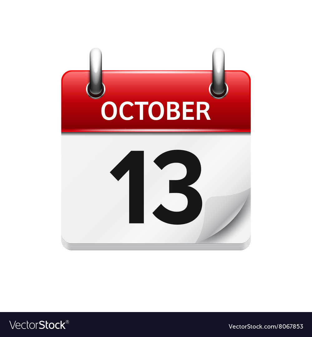 October 13 flat daily calendar icon Date