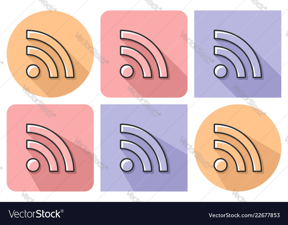 Outlined icon of rss sign with parallel and not