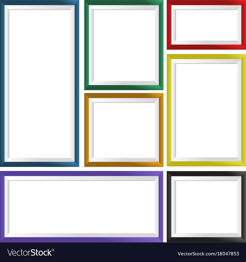 Seven frames in different colors Royalty Free Vector Image