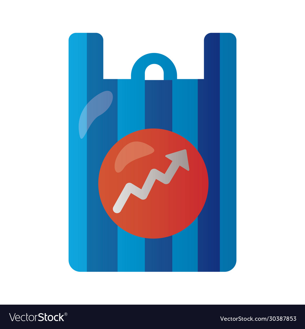 Shopping bag with arrow up infographic degradient vector