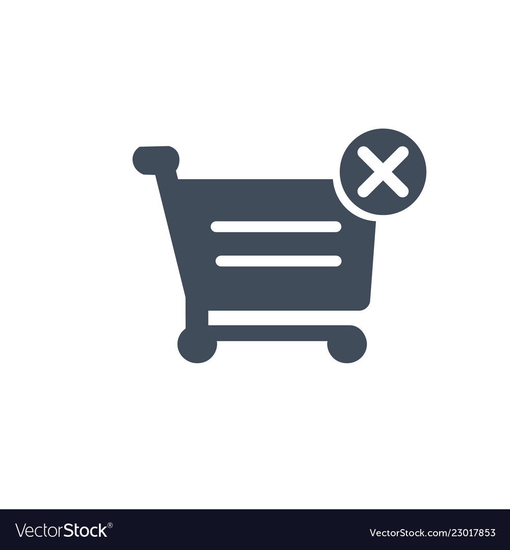 Shopping cart with cross sign icon filled flat