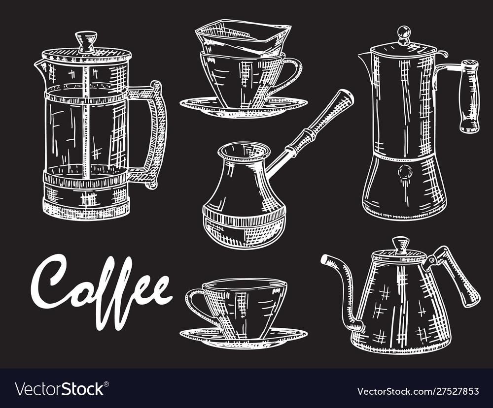 Vintage hand drawn white coffee set