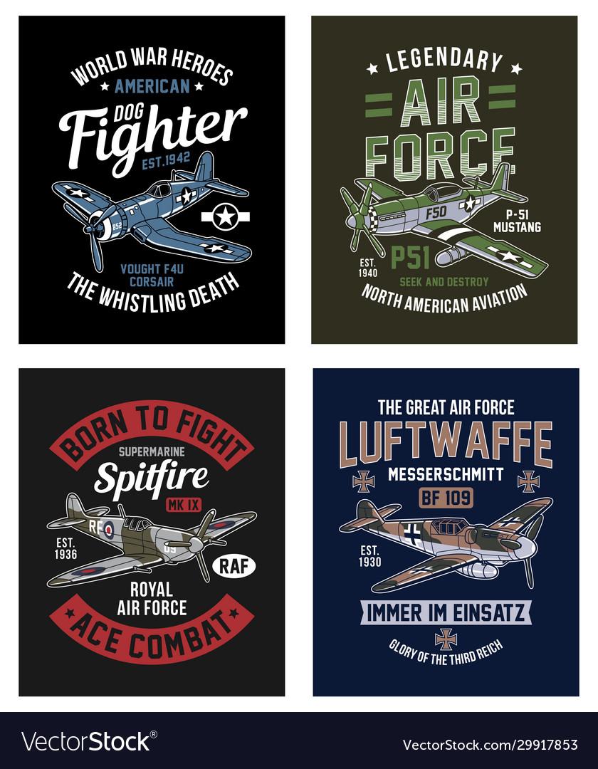 Vintage world war 2 fighter aircraft graphic