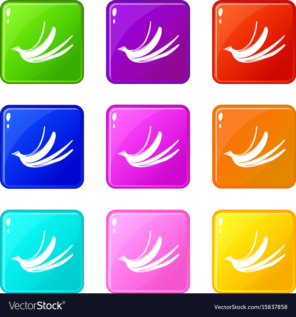 Banana peel icons 9 set vector image