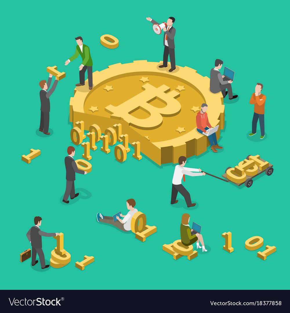 Bitcoin mining flat isometric low poly concept vector image