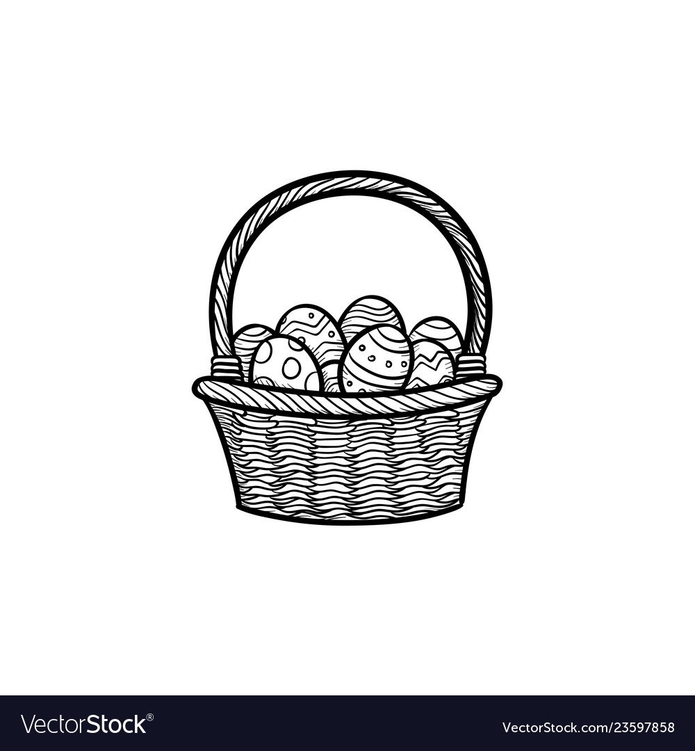 Easter basket with eggs head hand drawn outline