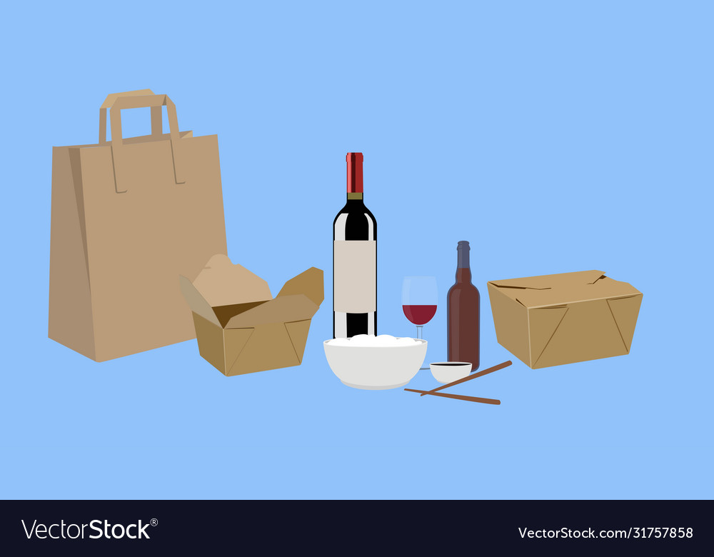 Food take away with wine and beer