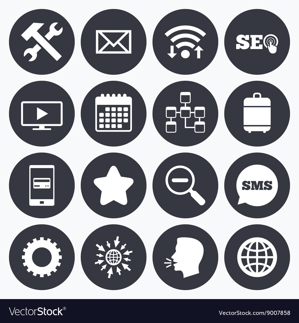 Internet seo icons Repair database and star