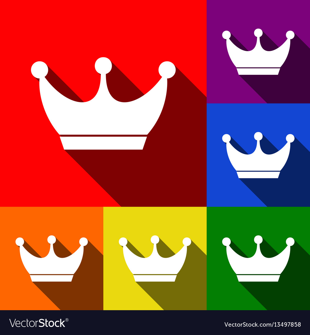 King crown sign set of icons with flat