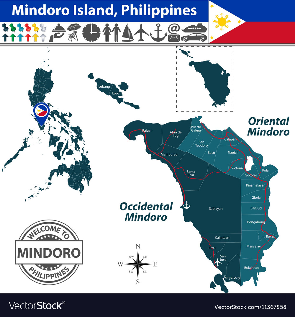 f2425236cd1d Map of Mindoro island Royalty Free Vector Image